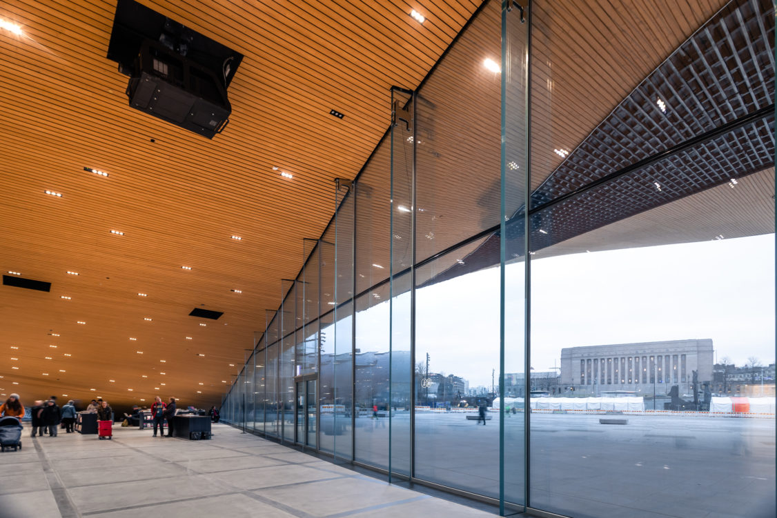 Oodi-library in Helsinki tempered laminated safety glass